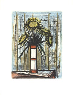"Bernard Buffet-Sunflowers-33.75"" x 25.75""-Serigraph-1975-Modernism-Multicolor"