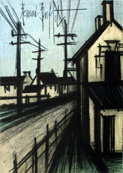 "Bernard Buffet-The Village Road-12.25"" x 9.5""-Lithograph-1966-Surrealism"