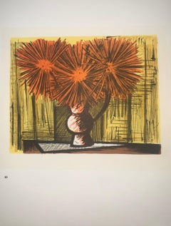 Dahlias On A Yellow Background - Color Lithograph - Bernard Buffet