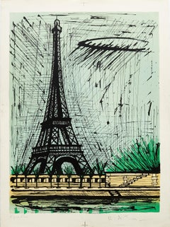 Eiffel Tower (B.A.T.) by Bernard Buffet - color lithograph 1986