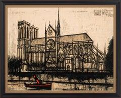"""""""Notre-Dame (De Paris)"""" Large 5.5-Foot Wall Tapestry by Bernard Buffet, Framed"""