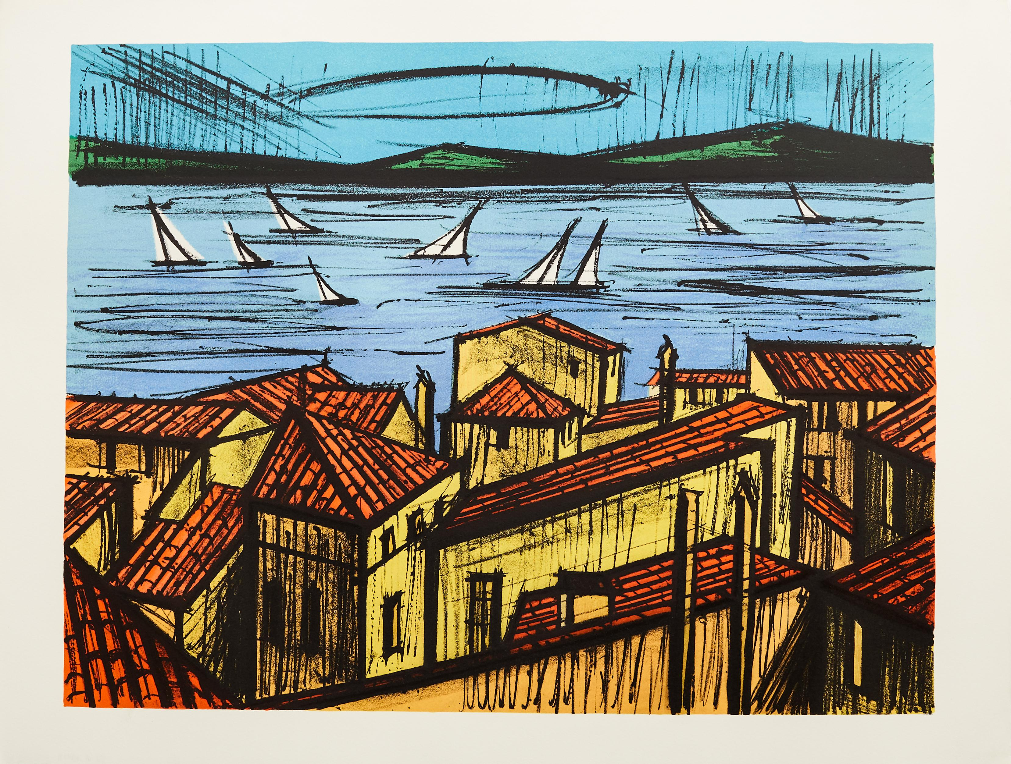 Roofs of St. Tropez by Bernard Buffet - color lithograph