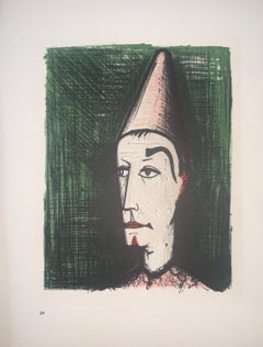 The Clown With The Green Background - Color Lithograph - Bernard Buffet