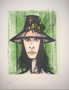 Woman With A Pink Hat - Color Lithograph - Bernard Buffet