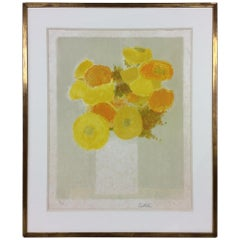 Bernard Cathelin Original Yellow Flowers Limited Edition V/X Signed Lithograph
