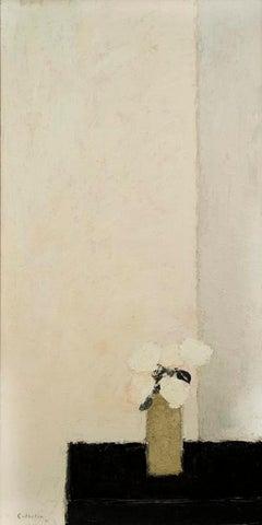 Tokonona Rose Et Gris Aux Roses Blanches, Still Life, Painting