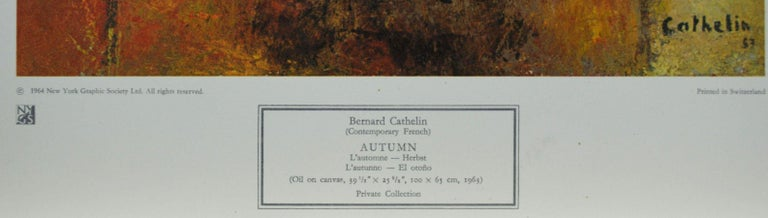 """""""Autumn"""" Poster. New York Graphic Society. Printed in Switzerland. - Beige Still-Life Print by Bernard Cathelin"""