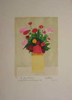 Bouquet of Peonies - Handsigned lithograph - Mourlot 1983