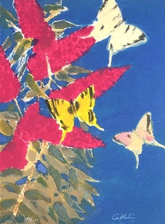 Butterflies and Flowers - Original lithograph handsigned - 100 copies