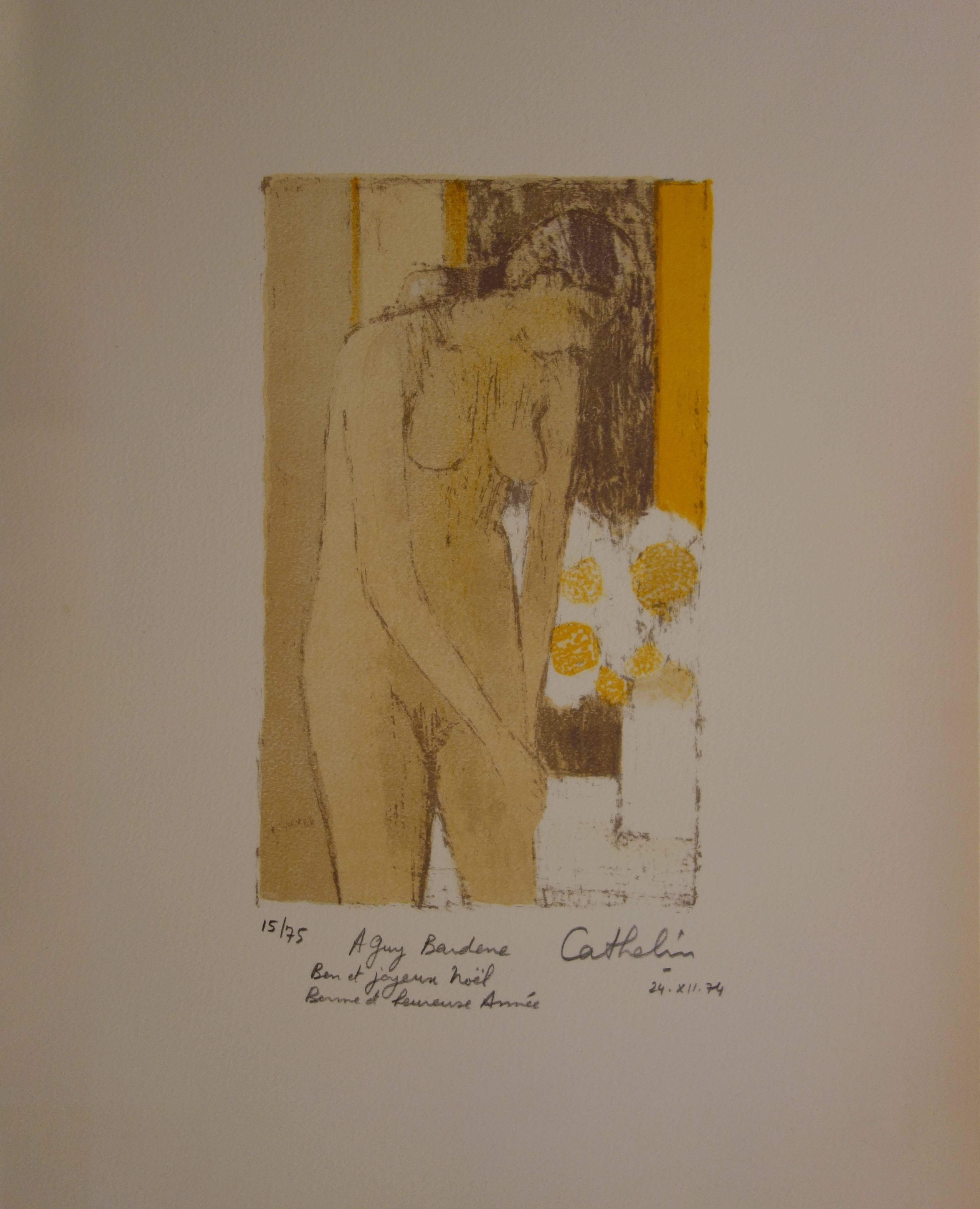 Nude with Bouquet of Flowers - Handsigned lithograph /75ex - Mourlot 1974