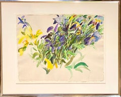 Large American Modernist Watercolor Painting Irises Bernard Chaet Expressionist