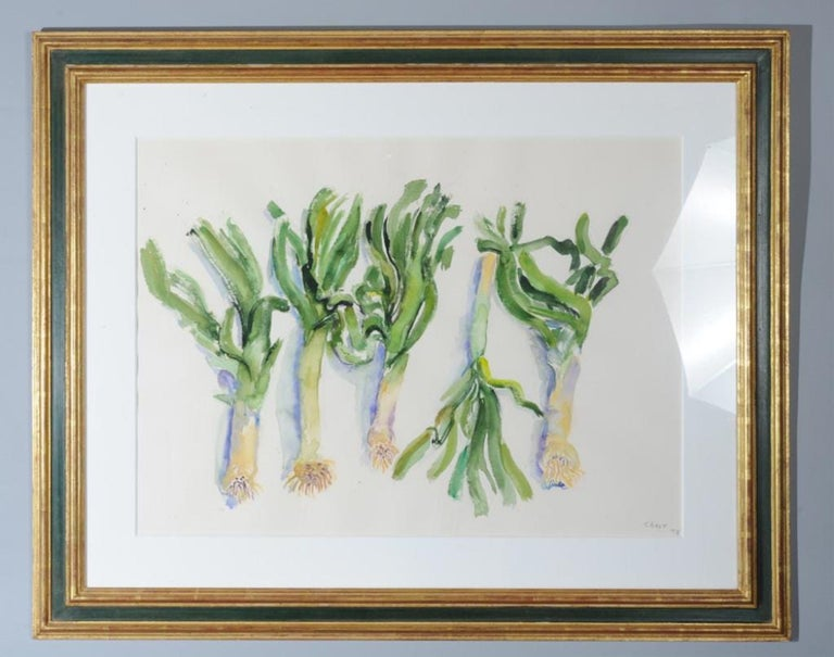 Hand signed and dated leeks on a kitchen table 31.5 X 39.5 framed. 21 X 28.5 sheet without frame.  Bernard Chaet (born 1924, Boston, MA - 2012) was an American artist; Chaet is known for his colorful, dynamic modernist paintings and masterful