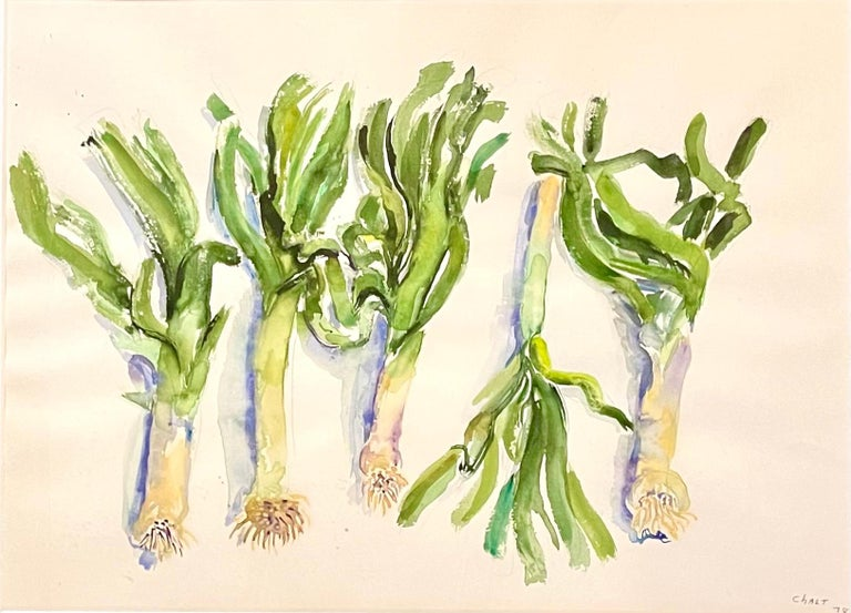 Large American Modernist Watercolor Painting Leeks Bernard Chaet Expressionist For Sale 1
