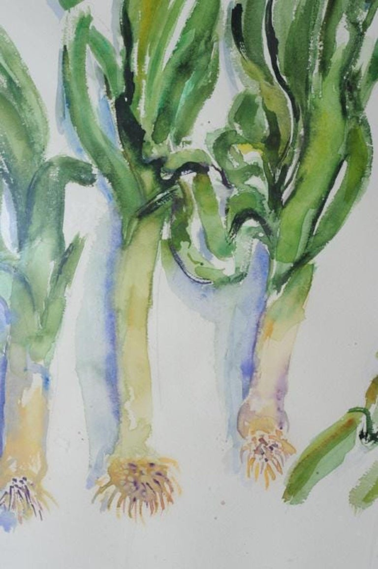 Large American Modernist Watercolor Painting Leeks Bernard Chaet Expressionist For Sale 2