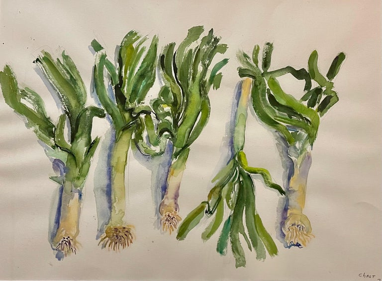 Large American Modernist Watercolor Painting Leeks Bernard Chaet Expressionist For Sale 5