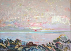 """Sunrise"" Bernard Chaet Oil Painting of Ocean Sunrise in Cape Ann"