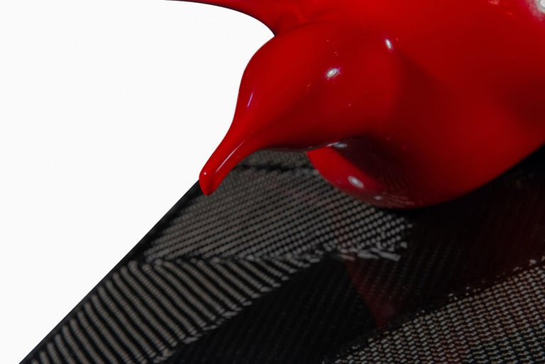 French Bernard Conforti, Penguin Sculpture, Unique Piece, Red Resin, Signed, circa 2010 For Sale