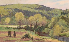 """Along the River"" Bernard Corey, 20th century, impressionist, landscape, oil"