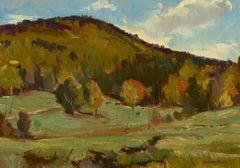 """Early Autumn Pastures,"" Bernard Corey, oil, landscape, impressionism, plein air"