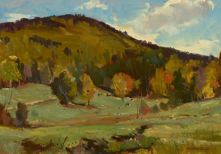 """Early Autumn Pastures,"" Bernard Corey, oil, landscape, impressionism, plein air - Painting by Bernard Corey"