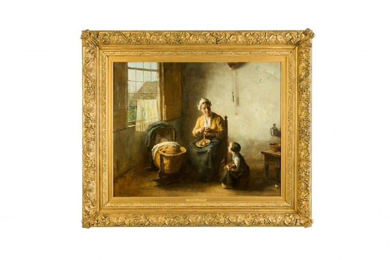 Bernard de Hoog (1866-1943)  Domesticity  Oil on canvas, original frame, 77.5 x 98cm / 114 x 134cm   Bernard de Hoog, a Dutch artist, began his career following a commission to undertake a portrait of his merchant employer's wife. De Hoog had