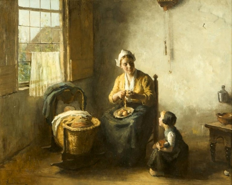 Dutch Bernard de Hoog '1866-1943' Domesticity Oil on Canvas Original Frame For Sale