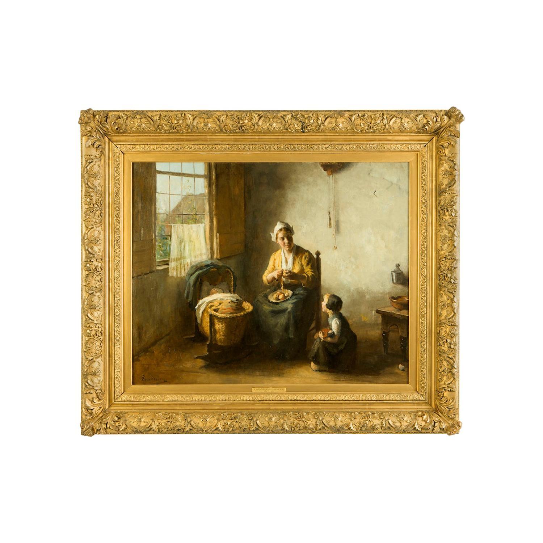 Bernard de Hoog '1866-1943' Domesticity Oil on Canvas Original Frame