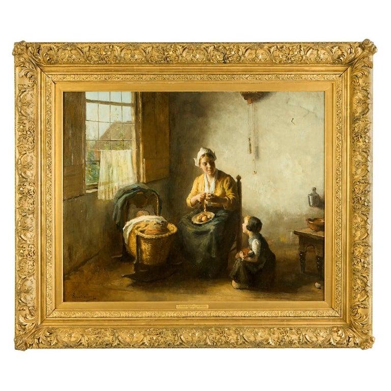 Bernard de Hoog '1866-1943' Domesticity Oil on Canvas Original Frame For Sale