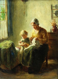 Interior - Mother With Child Holding Doll By Crib