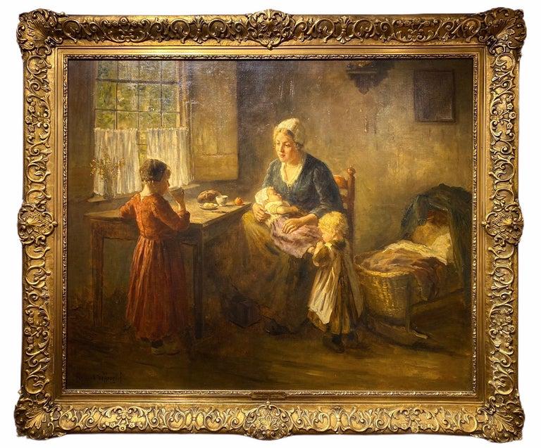Mother and Children - Painting by Bernard De Hoog