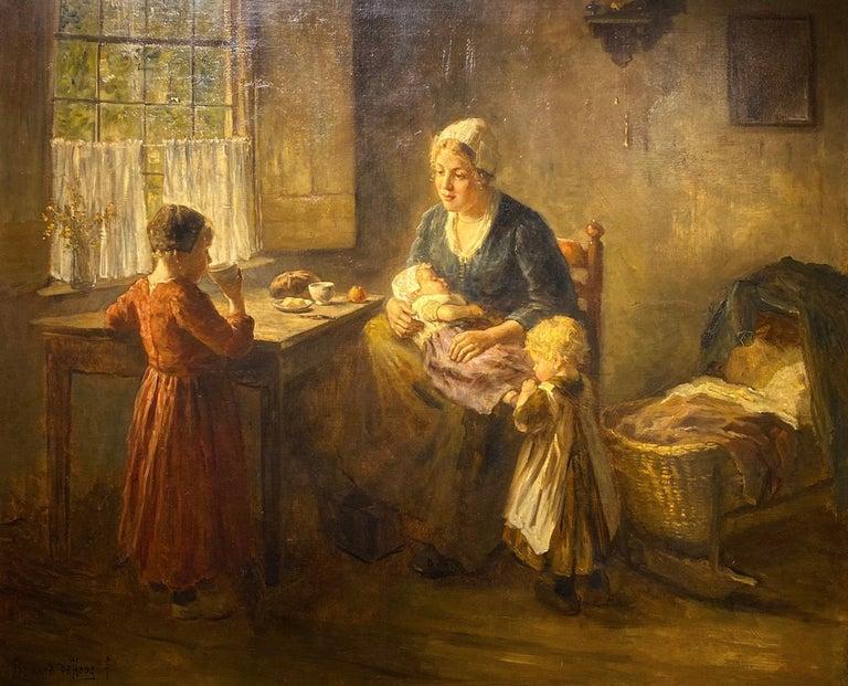 Bernard De Hoog Figurative Painting - Mother and Children