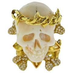 Bernard Delettrez Coral Diamond Sapphire Gold Skull Ring