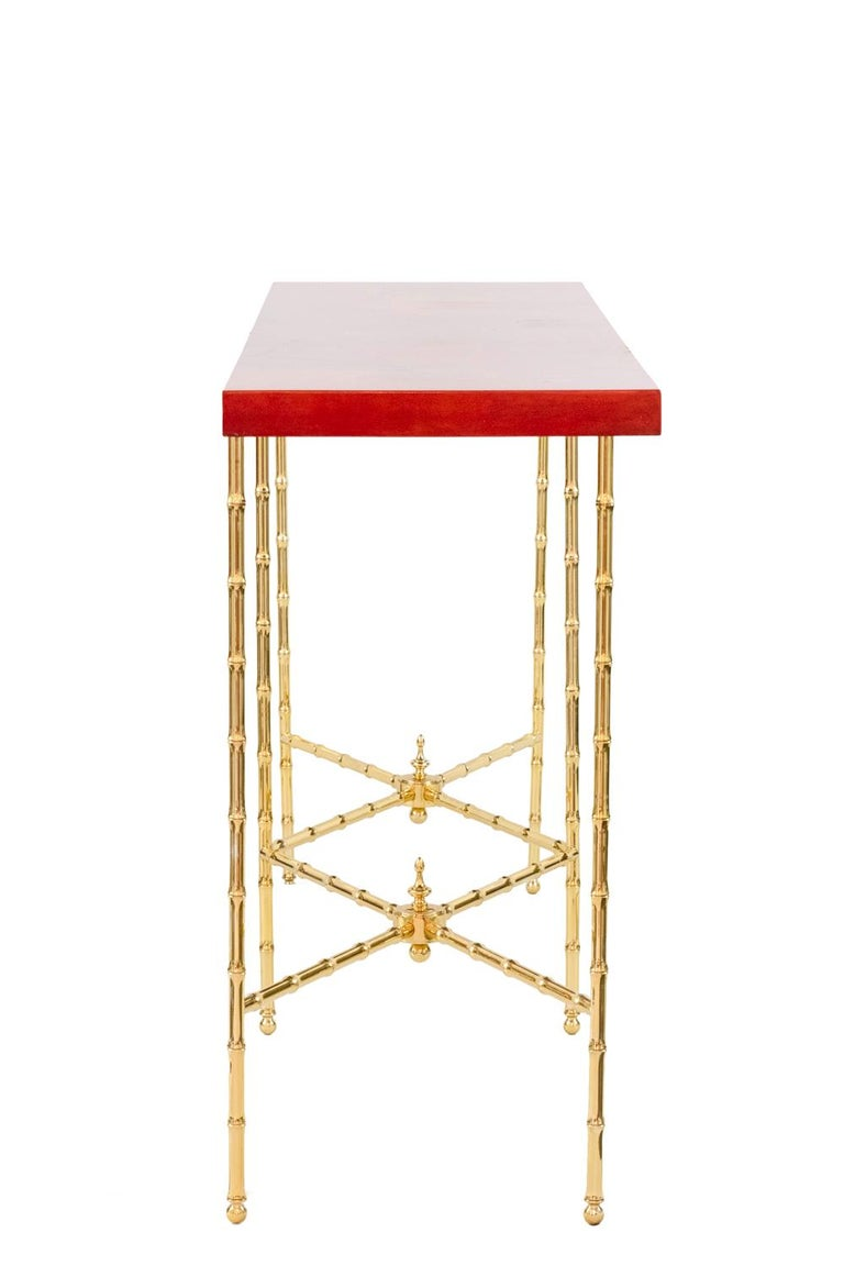 European Bernard Dunand, Console in Lacquer and Gilt Bronze, 1950s For Sale