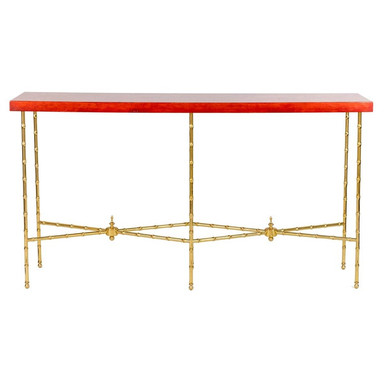 Bernard Dunand, Console in Lacquer and Gilt Bronze, 1950s For Sale