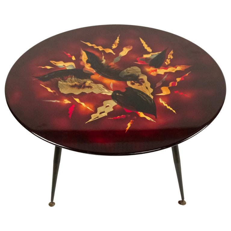 Bernard Dunand French Midcentury Geometric Lacquered Coffee Table For Sale