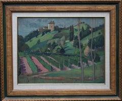 French Vineyard Landscape - British Post Impressionist 1920's art oil painting