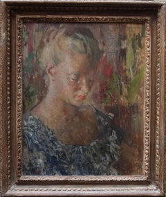 Pauline - British 50s art Impressionist female portrait oil painting exhib. work