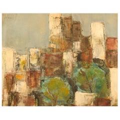 Bernard Folinais, French Painter, Modernist City Scenery, Oil/ Board
