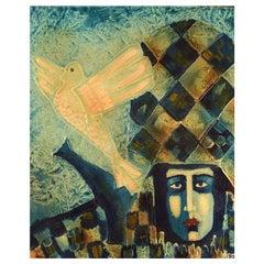 "Bernard Fouilloux, French Artist, Oil on Canvas, ""Arlequin"", 1973"