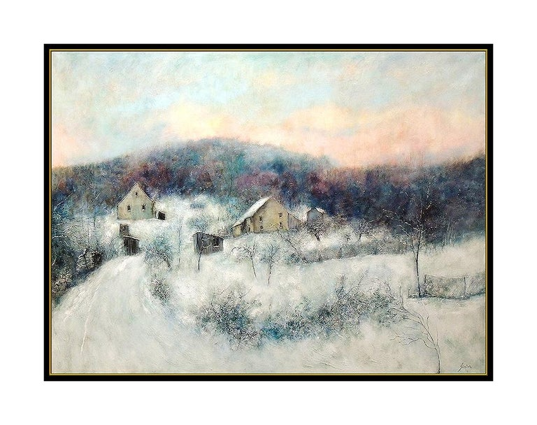 Bernard Gantner Large Painting Oil On Canvas Signed Winter French Landscape Art For Sale 1