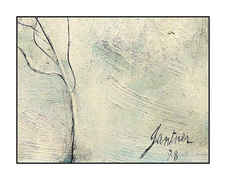 Bernard Gantner Large Painting Oil On Canvas Signed Winter French Landscape Art For Sale 2