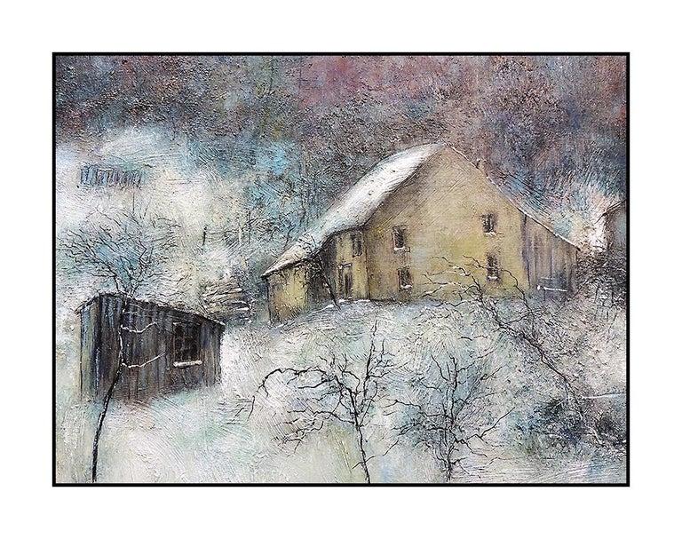 Bernard Gantner Large Painting Oil On Canvas Signed Winter French Landscape Art For Sale 3