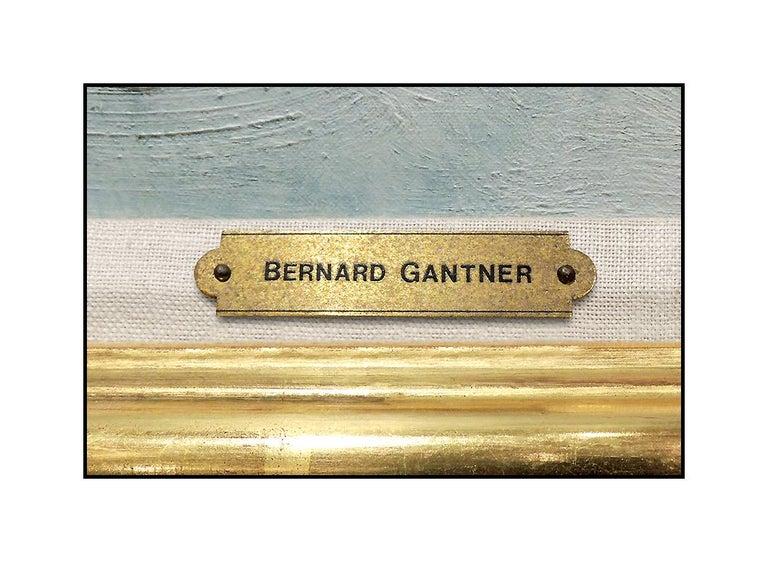 Bernard Gantner Large Painting Oil On Canvas Signed Winter French Landscape Art For Sale 4