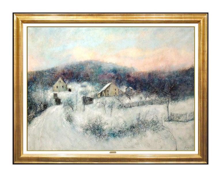 Bernard Gantner Large Painting Oil On Canvas Signed Winter French Landscape Art - Beige Landscape Painting by Bernard Gantner