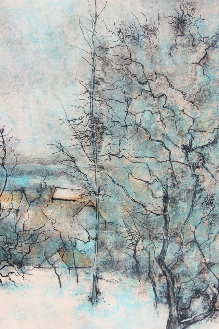 Winter Landscape with Town, Edition 284 of 375 - Painting by Bernard Gantner