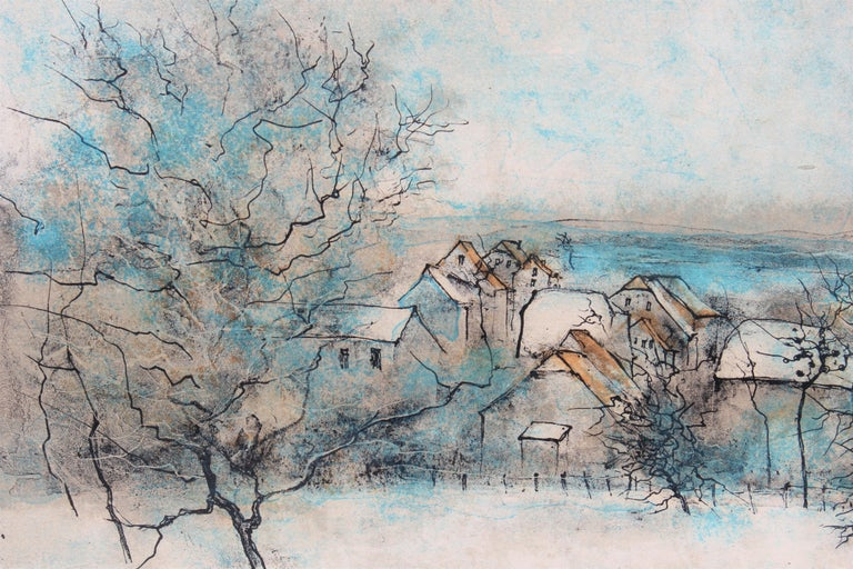 Winter Landscape with Town, Edition 284 of 375 - Abstract Impressionist Painting by Bernard Gantner