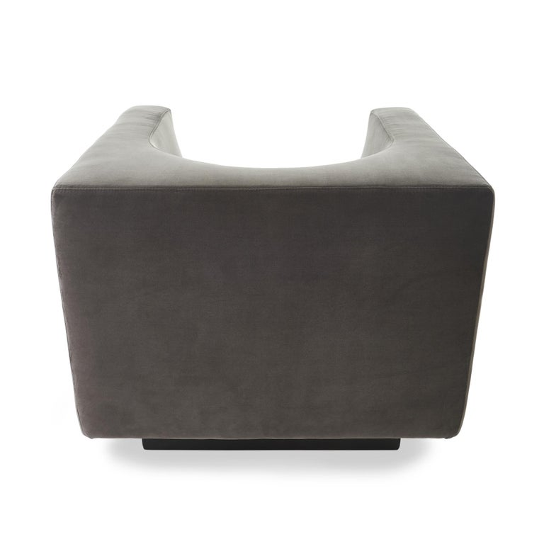 Late 20th Century Exclusive Bernard Govin for Saporiti Luxe 1970s 'Cube' Armchair Pair For Sale