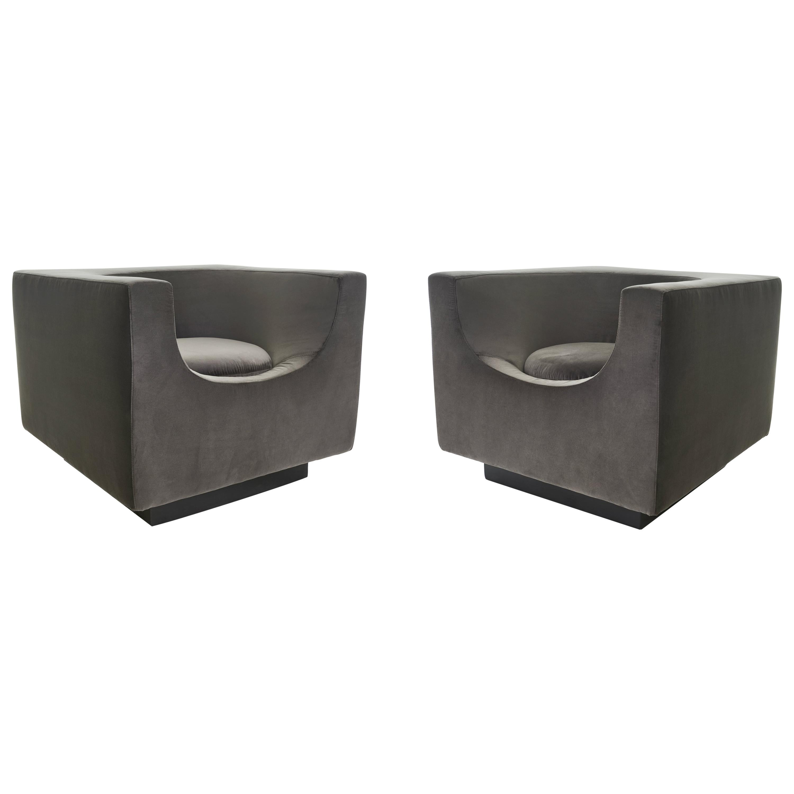 Exclusive Bernard Govin for Saporiti Luxe 1970s 'Cube' Armchair Pair