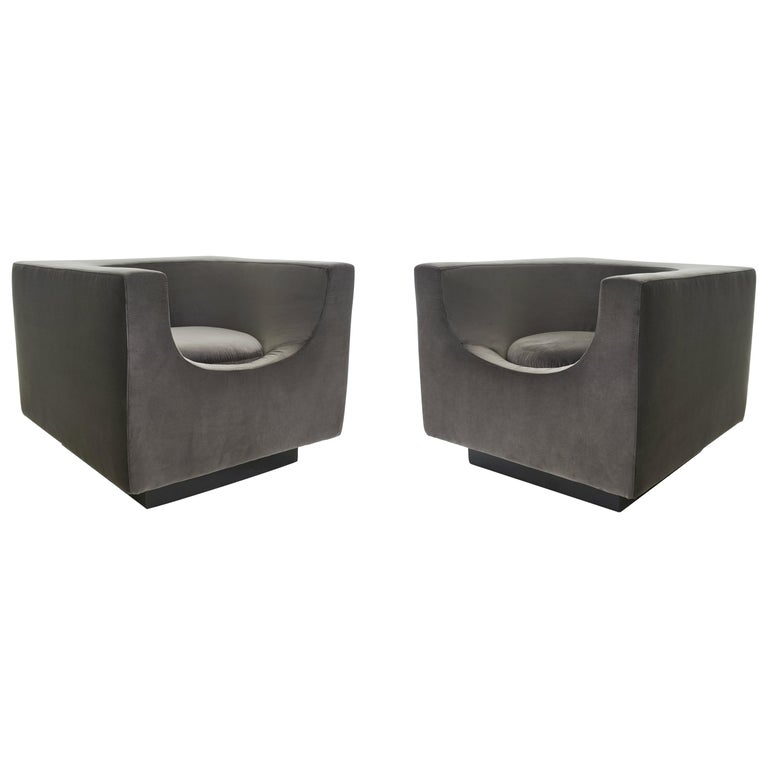 Exclusive Bernard Govin for Saporiti Luxe 1970s 'Cube' Armchair Pair For Sale