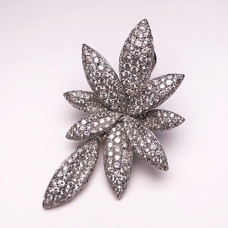 Contemporary Bernard Grosz 18 Karat White Gold and 6.81 Carat Diamond Flower Earclips For Sale